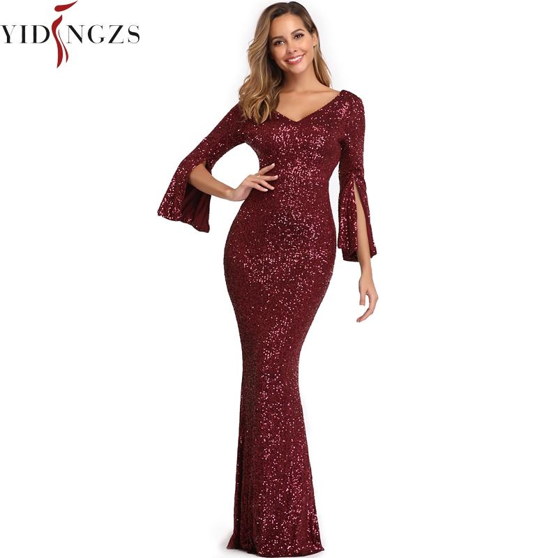 Burgund Evening Dress Women Long Sleeve Dress YIDINGZS Elegant Party Maxi Dress