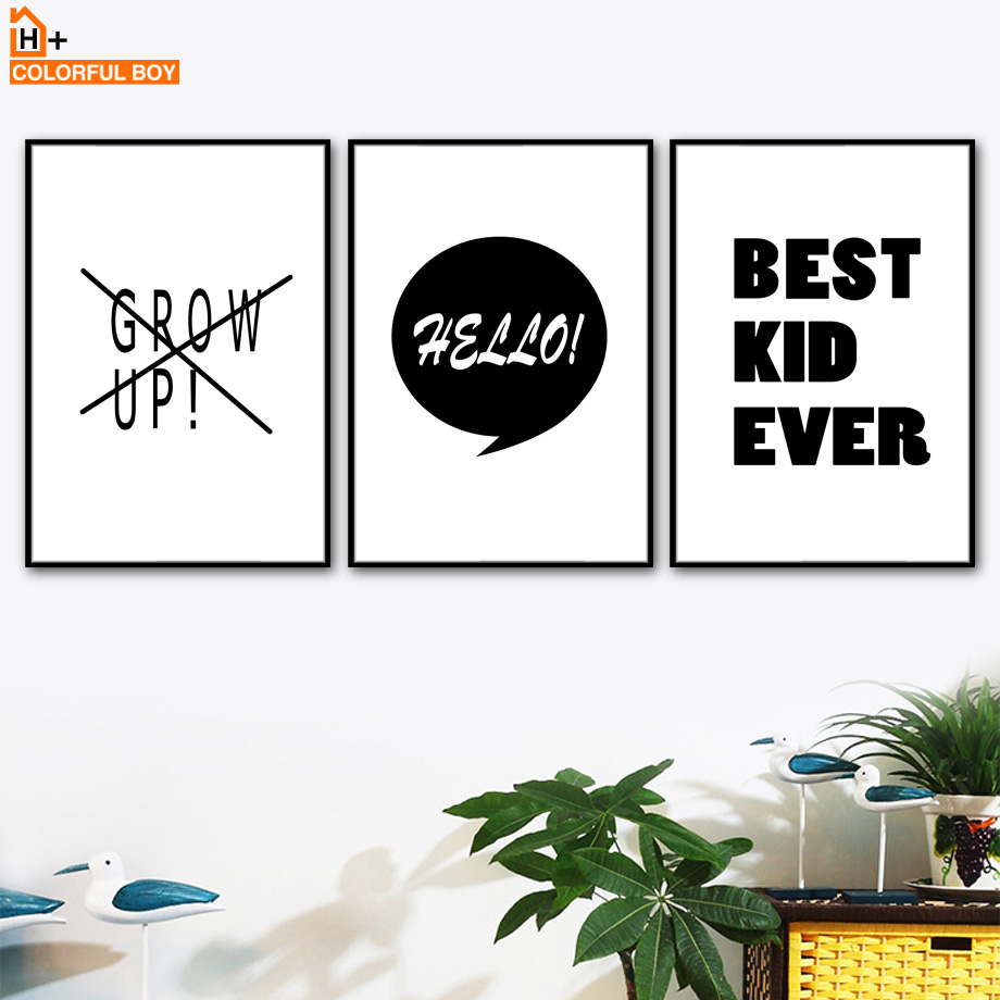 Best Kid Ever Quotes Wall Art Canvas Painting Nordic Posters And Prints Black White Letter Wall Pictures For Living Room Decor image
