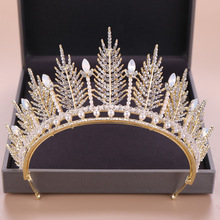 Gold Hair Tiara Wedding Rhinestone Bride Jewelry Headwear Crystal Crown Accessories Ladies Ornaments