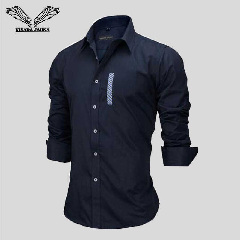 VISADA JAUNA ビジネス因果男性シャツ 2018 新到着ヨーロッパサイズ無地ブランド服長袖スリムフィットドレス n140
