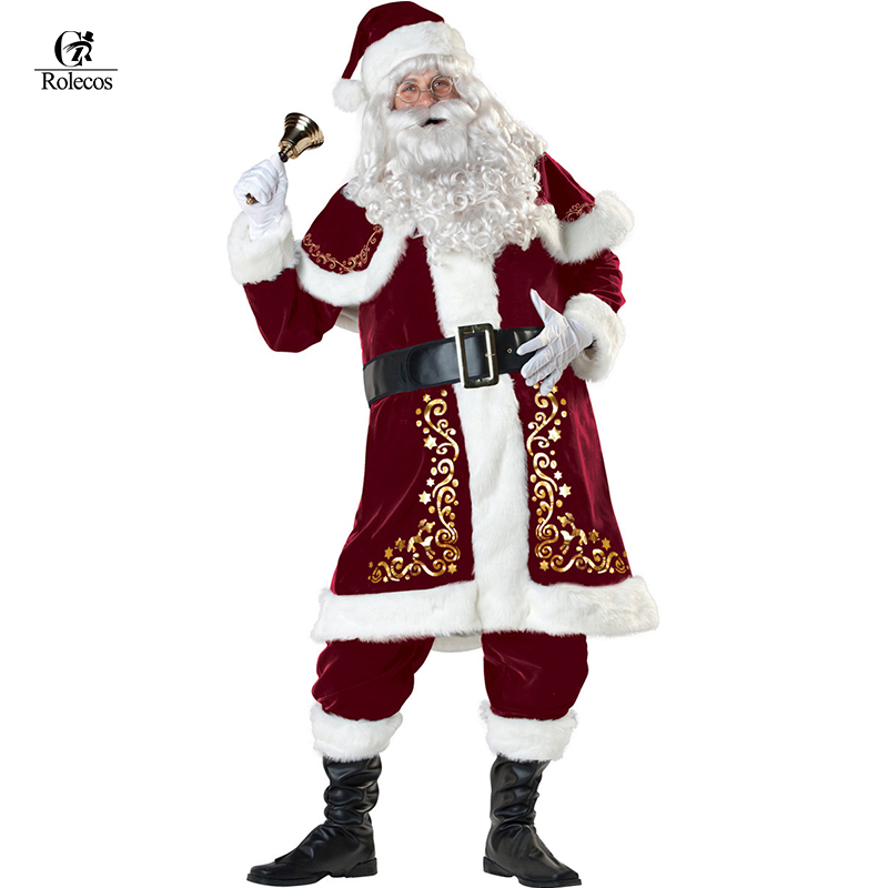 A Full Set Of Christmas Costumes Santa Claus For Adults Red Christmas Clothes Santa Claus Costume Luxury Suit with White beard middle part long curly christmas santa claus wig with beard