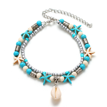 Многослойные анклеты в богемном стиле для женщин, винтажные богемные бусы на цепочке, ножные браслеты с морскими звездами, пляжные украшени...