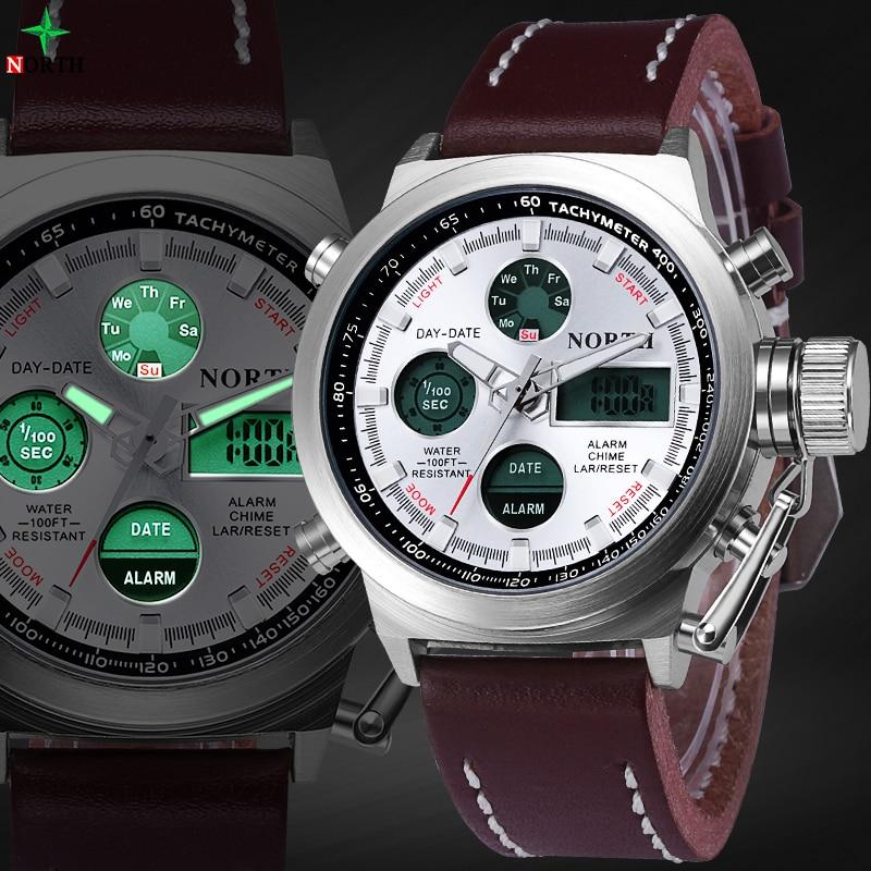 625e780f0af Esporte Mens Relógios Top Marca de Luxo Relógio Analógico Digital LED de  Alarme de Couro À