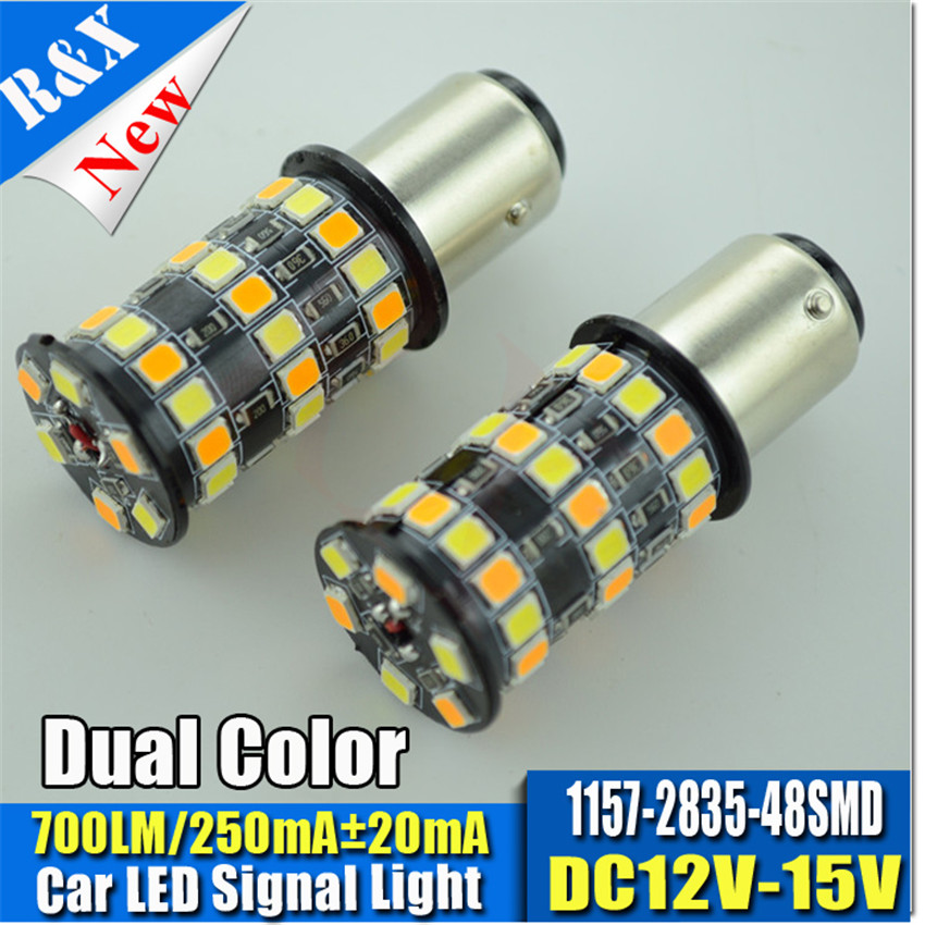 Pair 1157 7443 3157 12-24V High Power LED 2835 42SMD Dual color White Yellow for Car DRL Turn Signal Light car-styling