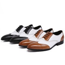 Noir/brun oxfords chaussures hommes robe de mariage chaussures en cuir véritable hommes d'affaires décontractée chaussures respirant formelle parti chaussures