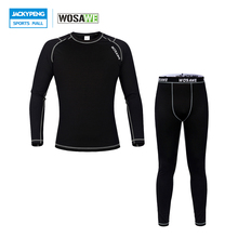 WOSAWE Men Outdoor Sport Gym Fitness Cycling Running Base Layer WinterThermal Underwear Long Johns Jersey Tights Clothes Set