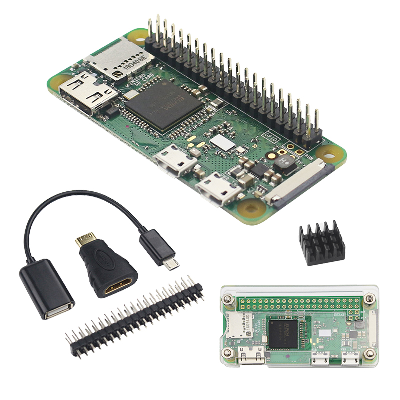 Raspberry Pi Zero WH 1GHZ 512Mb RAM With WiFi&Bluetooth 40Pin Pre-soldered GPIO Headers + Acrylic Case Raspberry Pi Zero W Pi0 W
