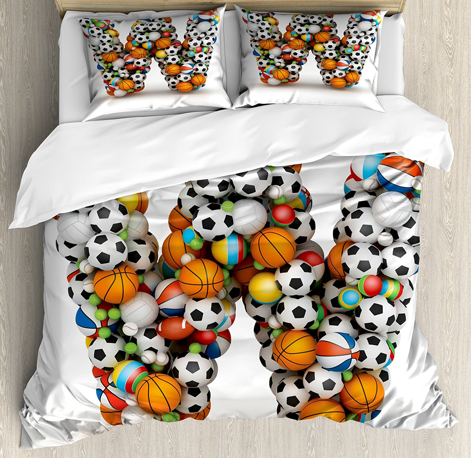 Letter W Duvet Cover Set Sports Themed Typography Alphabet Symbol With Various Athletics Kids Design 4 Piece Bedding In Sets From Home