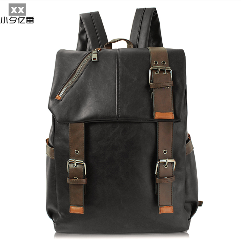 2016 Luxury Designer Leather Men Backpack Fashion Vintage Women Travel Backpack Large Ca ...
