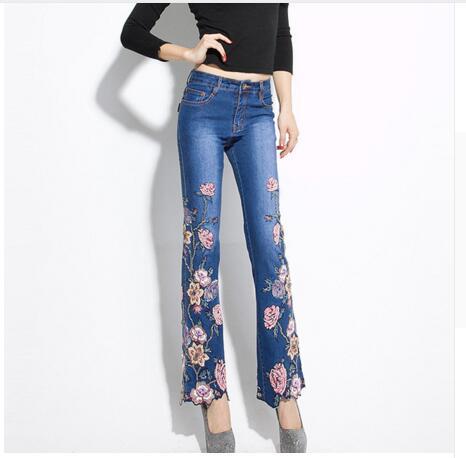 Большие размеры Цветочная вышивка джинсы женские высокой талией джинсы Штаны 2018 Весна осень женщин снизу джинсы Femme
