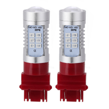 2Pcs Red 3157 3156 21 LED 12V-24V Non-Polarity Car Tail Brake Stop Light Signal Bulb 1200Lm Back Up Reverse Lights