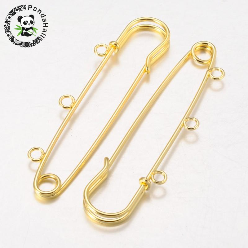 Iron Kilt Pins Brooch Findings, Golden, 75mm, Hole: 3mm