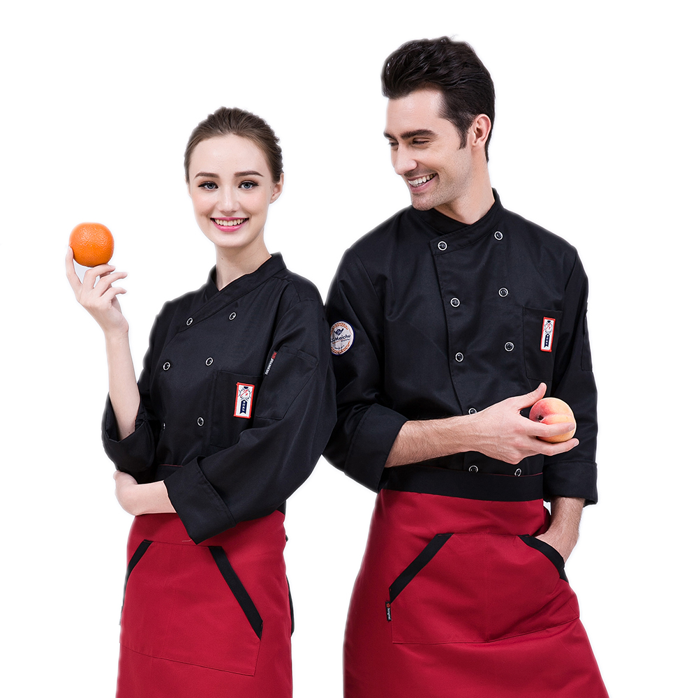High-quality 3-color Long-sleeve Chef Jacket Restaurant Kitchen Hotel Cook Suit Man Woman Kitchen Work Clothes Overalls