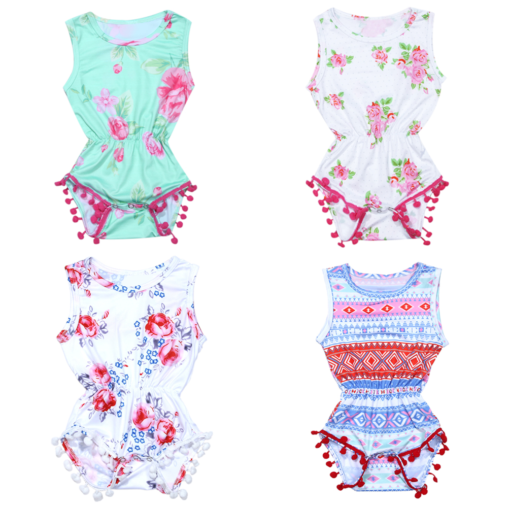 Newborn Baby Girls Bodysuit Summer Floral Printed Sleeveless One-piece Jumpsuit Infant Sunsuit Outfits Clothes Girls Costumes