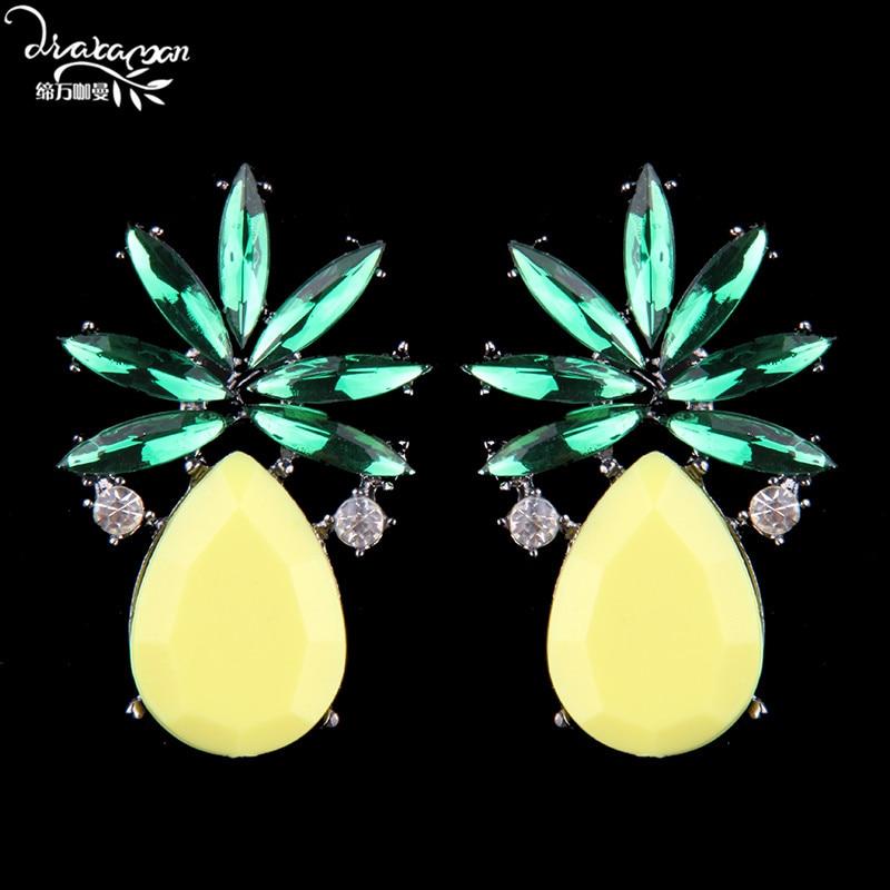 Dvacaman Brand Cute Heart Charm Stud Earring For Women Fashion Crystal Statement Jewelry Earrings Grils Friend Party Gifts KK27
