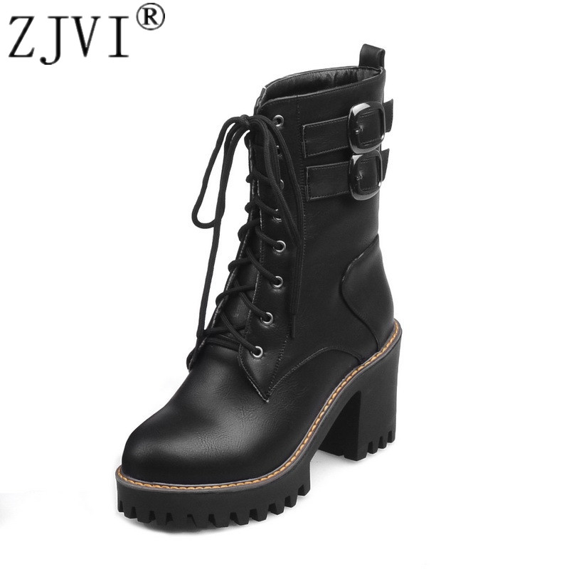 ZJVI women fashion cross tied mid calf boots womens winter autumn 2019 woman square high heels ladies black casual shoes
