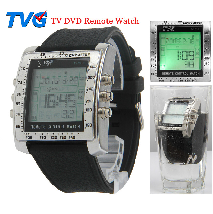 2014-H-TVG-Remote-Control-Alarm-TV-DVD-Remote-Military-Watch-For-Men-Digital-Stainless-Steel