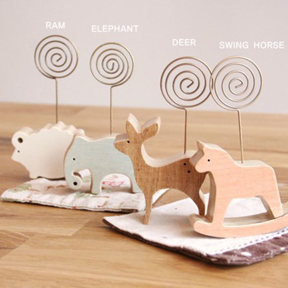 Cute Animal Wooden Desktop Figurine Wrought Iron Message Note Clip Pictures Photo Holder Home Decoration Arts Crafts Gift
