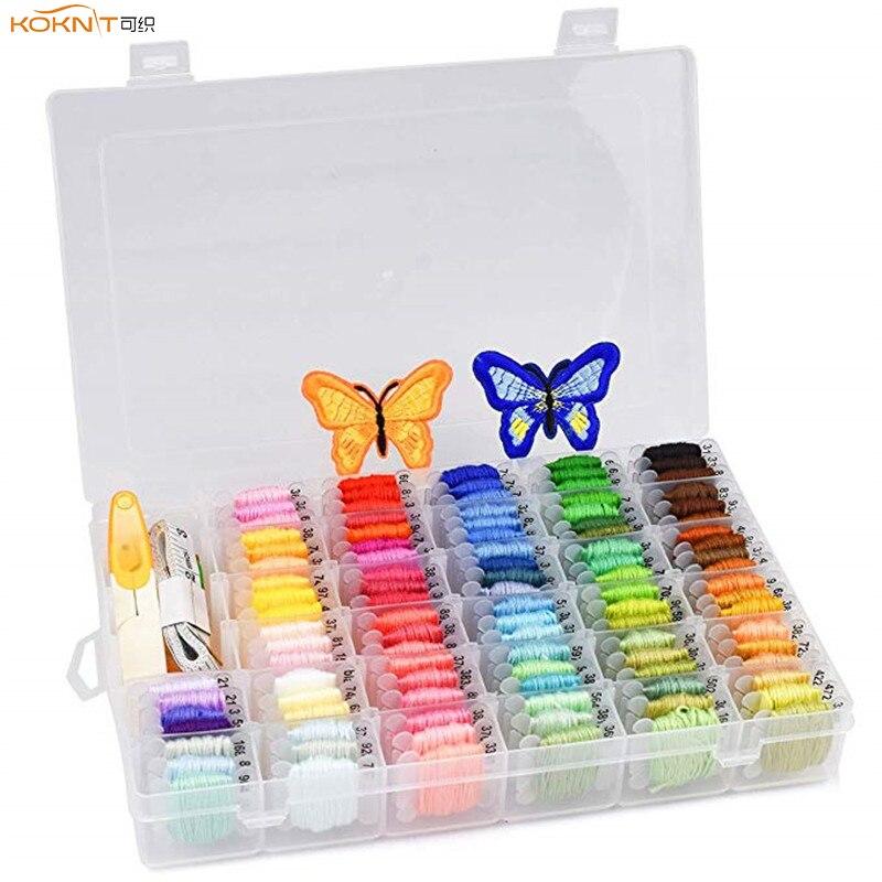KOKNIT 100 colores bordado hilo dental con caja de almacenamiento terminado automático de plástico hilo dental bobinas DIY pulseras de la amistad de artesanía