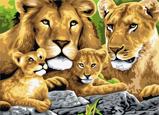 Pittura a olio di DIY famiglia leone soggiorno camera da letto ...