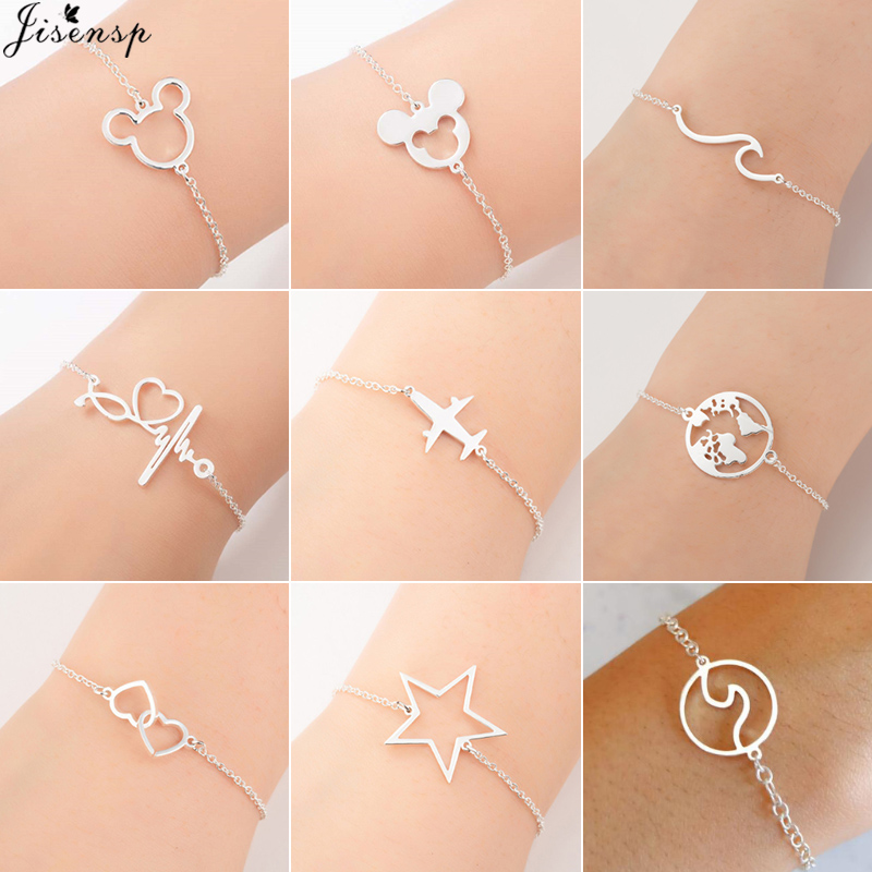Jisensp Mickey-Bracelets Jewelry World-Map Wedding-Gift Stainless-Steel Femme Women Everyday