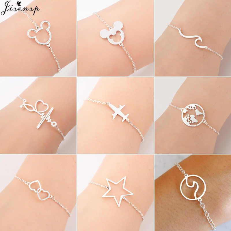 Jisensp Stainless Steel Mickey Bracelets for Women Everyday Jewelry World Map Charm Bracelet Heart Bracelet Femme Wedding Gift