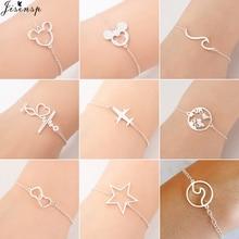 Jisensp Stainless Steel Mickey Bracelets for Women Everyday