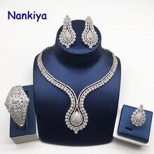 Купить с кэшбэком Nankiya Luxury Zirconia Women Jewelry Set Elegant Shape Jewelry For Wedding Dress Accessory 4pcs Jewellery Set for Party NC768