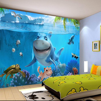 3D Sea World Mural Wallpaper For Kids Room-Free Shipping 3D Wall Stickers For Kids Rooms