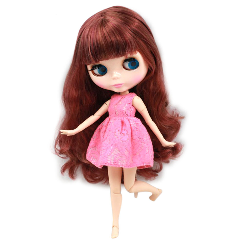Blyth Doll Nude Joint Body 30cm Red Brown Long Wavy Hair With Bangs Natural Skin girl