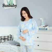 Sunbaby Fashion Kimono Style Floral Pattern maternity nightwear breastfeeding Cotton yarn clothes for pregnant women 3 pcs set