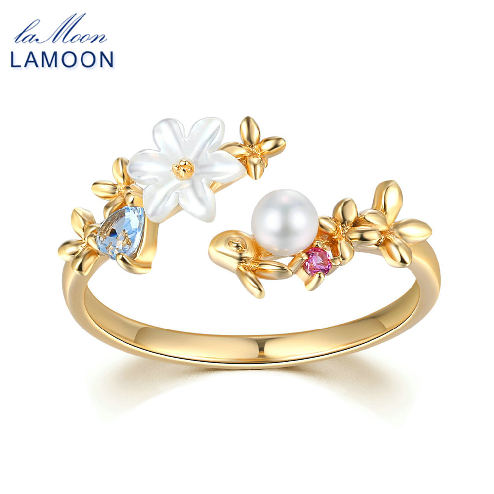 LAMOON Ring For Women 100% Natural Gemstone Pear Shell Flower 14K Gold Plated 925 Sterling Silver Wedding Fine Jewelry LMRI068