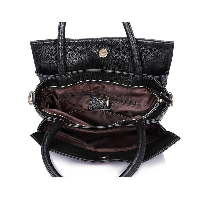 Mais real crossbody couro genuíno mulher bolsa de couro preto tote saco de alta qualidade floral em relevo bolsa de ombro das senhoras