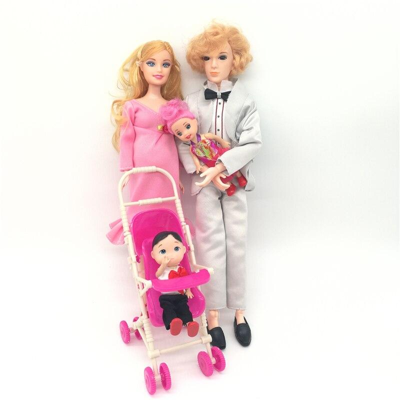 1 conjunto novas meninas brinquedo bonecas grávida babyborn família ken esposa com carrinhos de bebê para boneca acessórios brinquedos para crianças presente