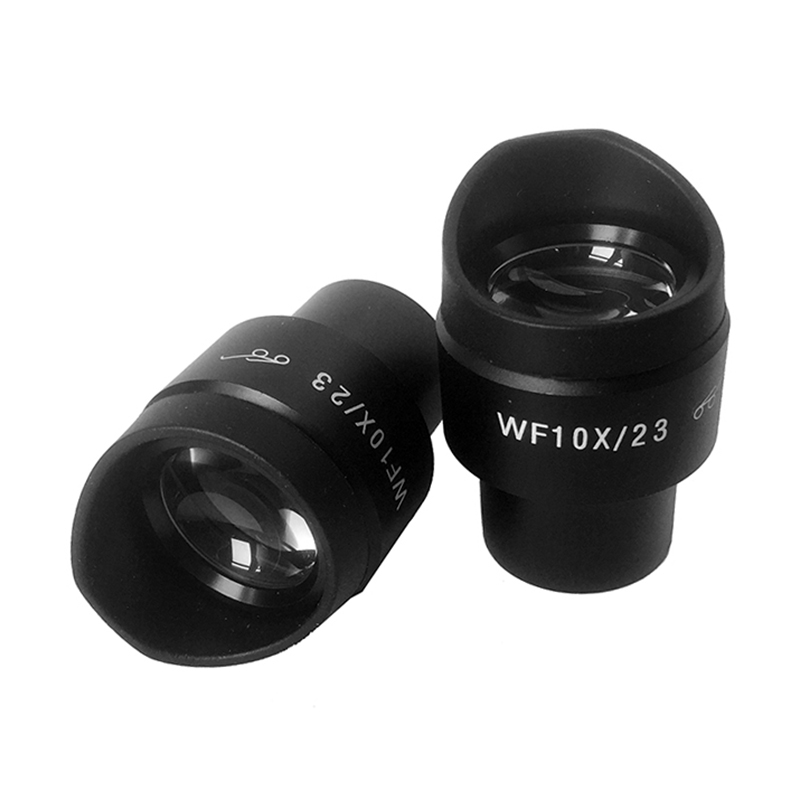 2PCS WF10x Eyepiece With Rubber Eye Cups Diopter Adjustable Mounting Size 30 Mm Field Of View 23 Mm For Stereo Microscope
