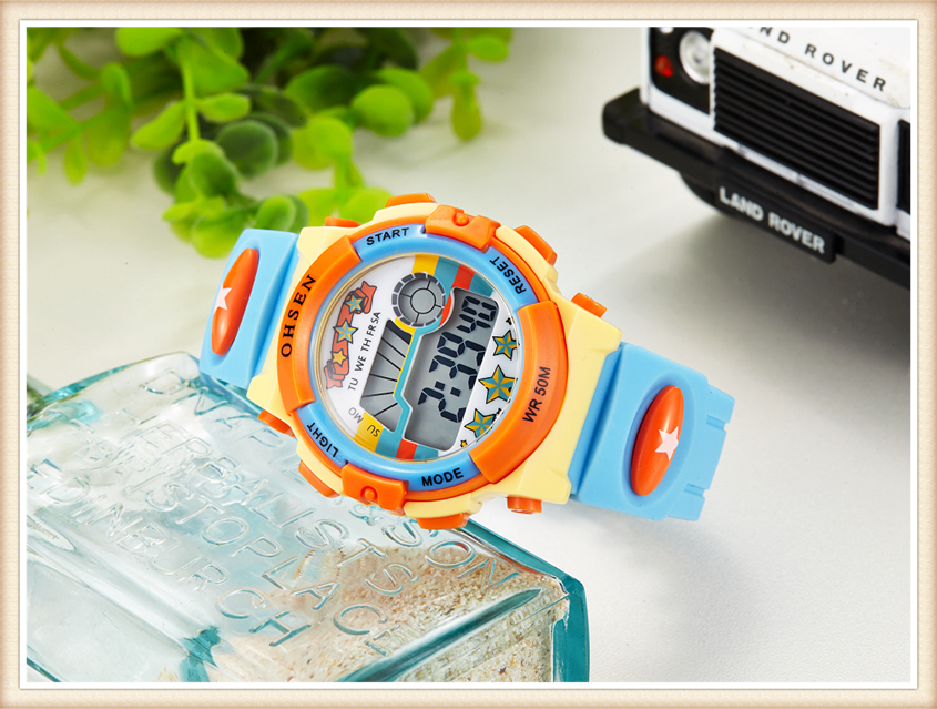 Original OHSEN Brand Children Boys Digital LCD Wristwatch Light Blue Silicone Band Kids Electronic Sports 50M Waterproof Watches (20)