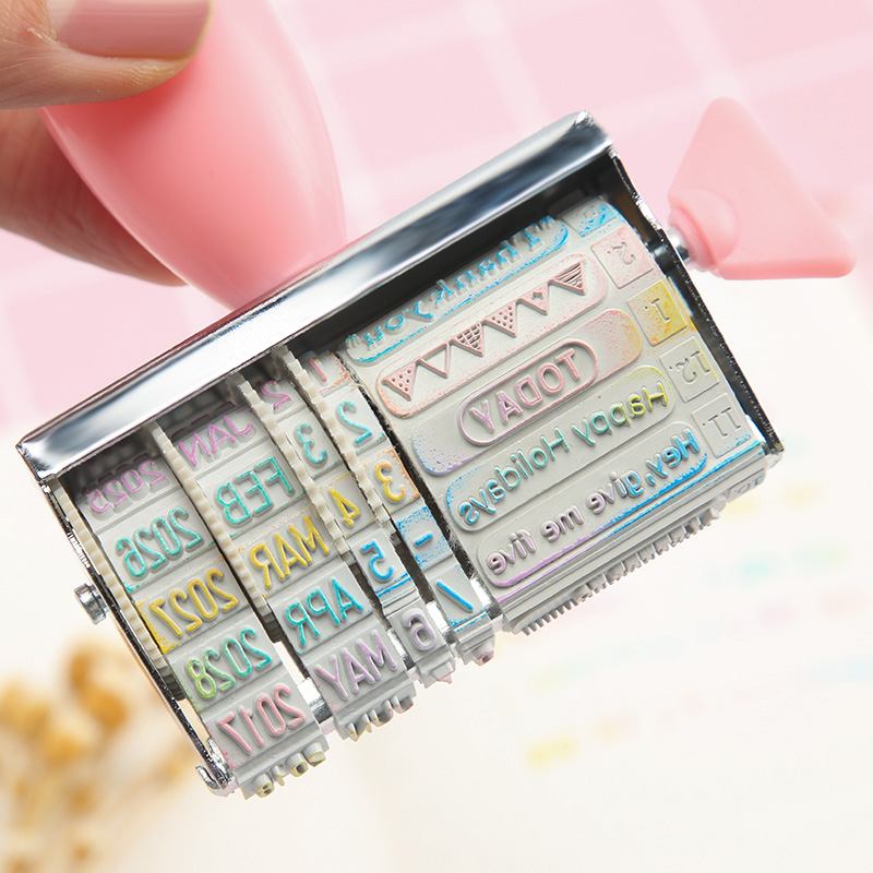 Korean Planner Stamps Words And Date Stamp For Diary Notebook Accessories Wheel Rubber Roller Office Supplies School Stationery