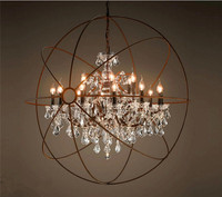 Foucault's Orb Clear K9 Crystal Chandelier Rustic Iron Globe Suspension Handing Lamp Loft Industrial For Living Room Lamps B039