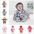 0 ~ 18 M de Flanela Inverno Snowsuit Grosso Macacão de Bebê Da Zebra Do Bebê Recém-nascido Meninas Meninos Conjuntos de Roupas Infantis Macacões Pagado V20
