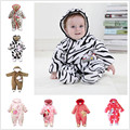 0~18M Winter Flannel Thick Baby Rompers Snowsuit Zebra Newborn Baby Girls Boys Clothing Infant Jumpsuits Footed Sets V20