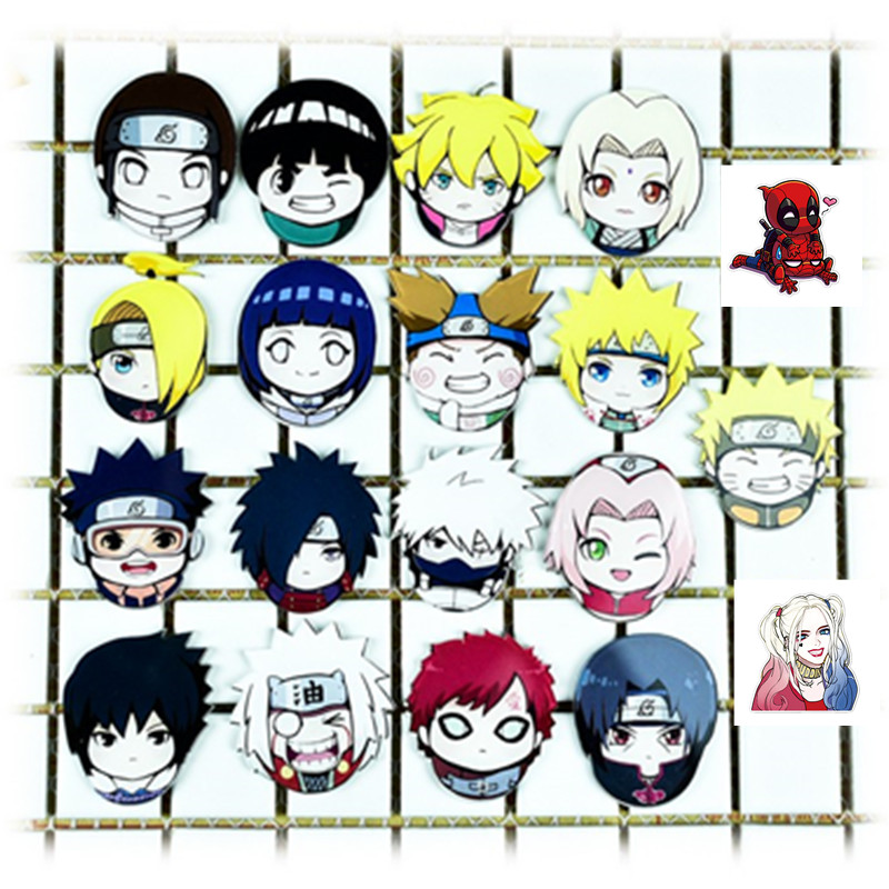 Japan Cartoon Acrylic HARAJUKU Badge Uzumaki Naruto Chibi Kakashi Tips  Deadpool Spiderman Brooch Badge