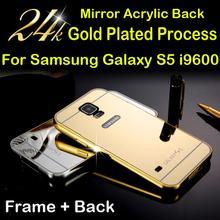 Роскошь для samsung s5 крышка алюминиевый металлический каркас зеркало акриловые назад чехол для galaxy s 5 я 9600 марка мобильного телефона случаях 2015