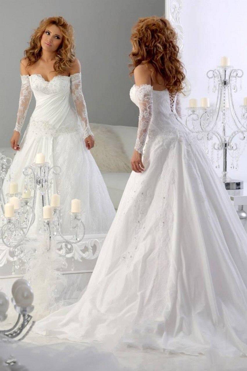 2016 stunning off shoulder long sleeve wedding dresses for One shoulder long sleeve wedding dress