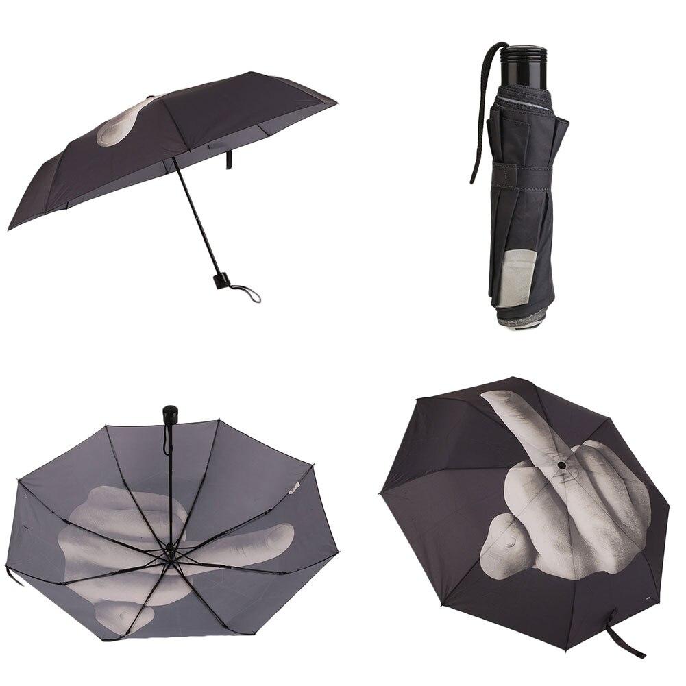Creative erect Middle <font><b>Finger</b></font> Folding Rain Umbrella Foldable Waterproof Gift New
