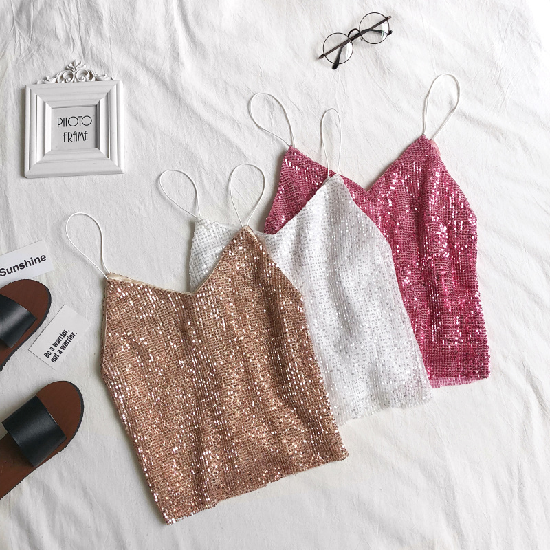Summer Sexy Sequined Camis Sweet V-Neck Short   Tank     Tops   Women streetwear Slim halter   top   All-Match Sleeveless sequin   Tanks   Mw706