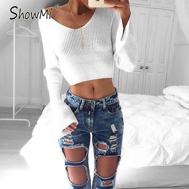 ShowMi Apparel 2016 Winter Stylish Ladies Sweater Crop Top White Base Shirt Flare Long Sleeve Sexy V Neck Female Knitted Sweater