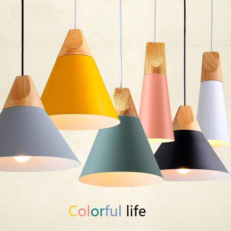 Led Pendant Lights Modern Nordic Pendant Lamp Wood Lamp Aluminum Loft Hanging Lamp Restaurant Kitchen Island Dining Room Lights