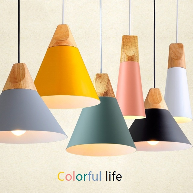 Butelive LED Pendant Lights Colorful Solid Wood Aluminum lampshade Dining Room Modern