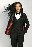 Custom Made Black 3 Piece Slim Women's Pants Suit Vest Business Office Set Ladies Work Wear Outfit Blazer W240