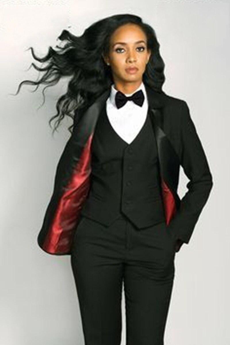 2dfab5722f0812 Beste Kopen Custom Made Black 3 Stuk Slanke vrouwen Broek Pak Vest Business  Kantoor Set Dames Werkkleding Outfit Blazer W240 Goedkoop